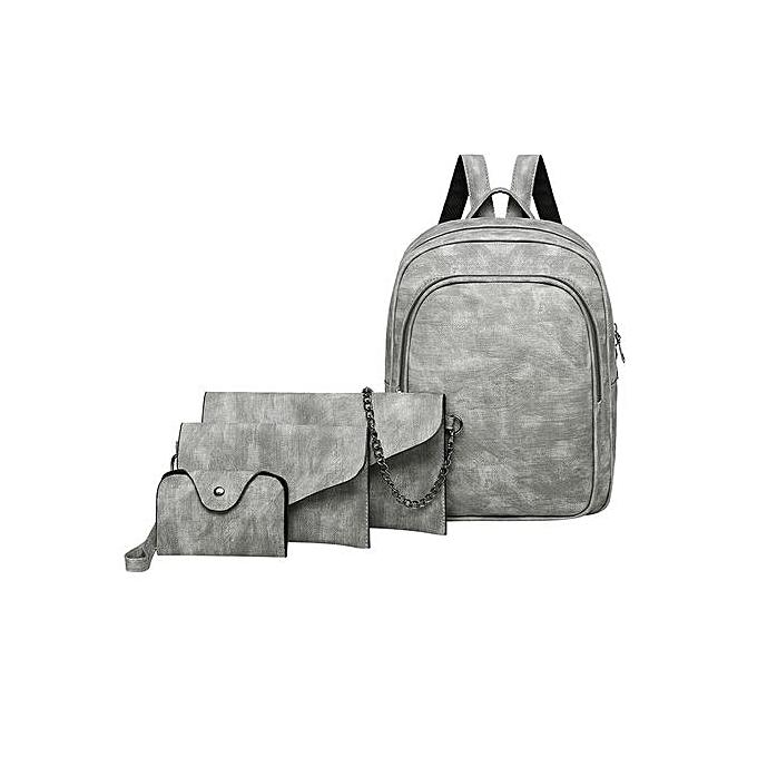 mode Singedan Shop 4Pcs femmes Pure Couleur cuir sac à dos+bandoulière sac+Messenger sac+voitured Package à prix pas cher