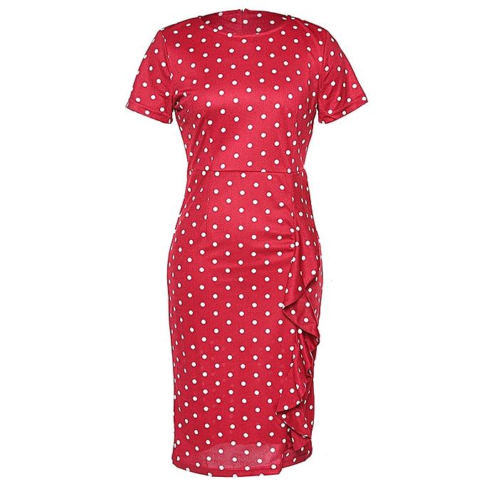 Kenancy Robe Femme Vintage Point d& 039;Onde - Rouge Lave à prix pas cher