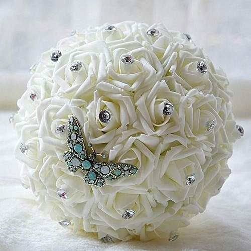 Artificial pe rose bridal hands holding bouquet crystal for Housse voiture rose