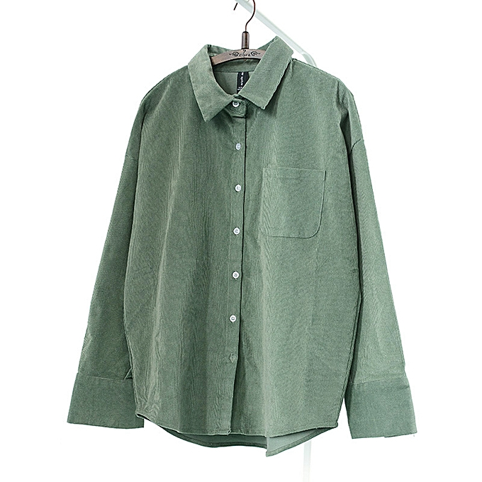 Fashion femmes Casual Long Sleeves Corduroy Shirts with Pockets à prix pas cher