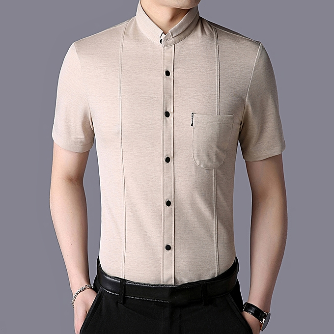 Fashion Mens Summer Turn Down Collar Solid Couleur Non-ironing Slim Casual Shirts à prix pas cher