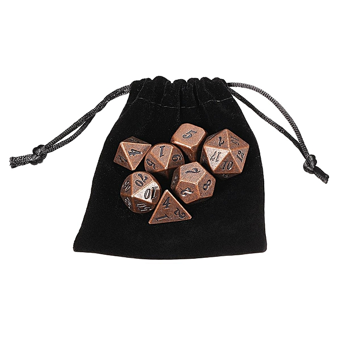 UNIVERSAL 7Pcs set Antique Metal Polyhedral Dice DND RPG MTG Role Playing Game With Bag à prix pas cher