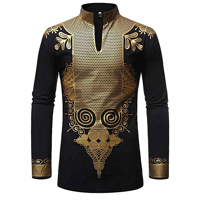 Fashion jiahsyc store Fashion Men's Slim Fit Printed Muscle Tee T-shirt Casual Medium length shirt à prix pas cher