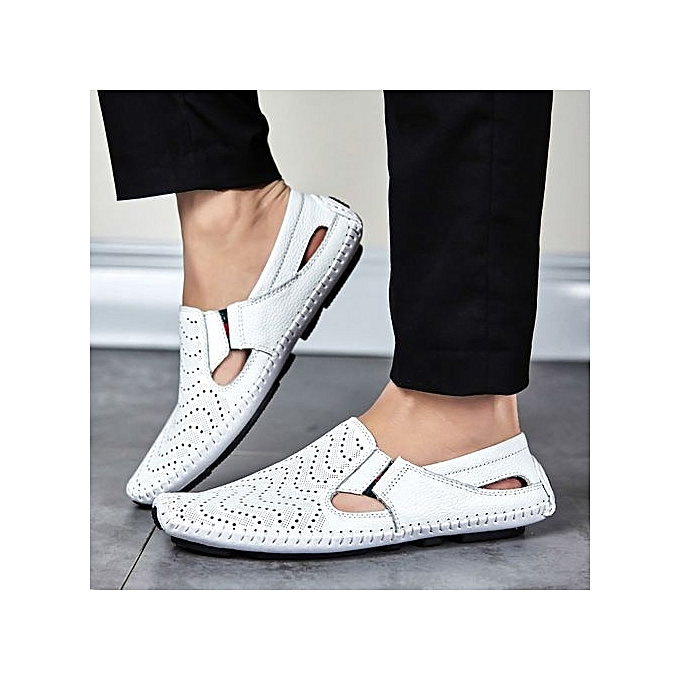Fashion Cut-Out Leather Loafer Flats Comfy Driving Shoes Shoes Driving -White à prix pas cher  | Jumia Maroc b2679c