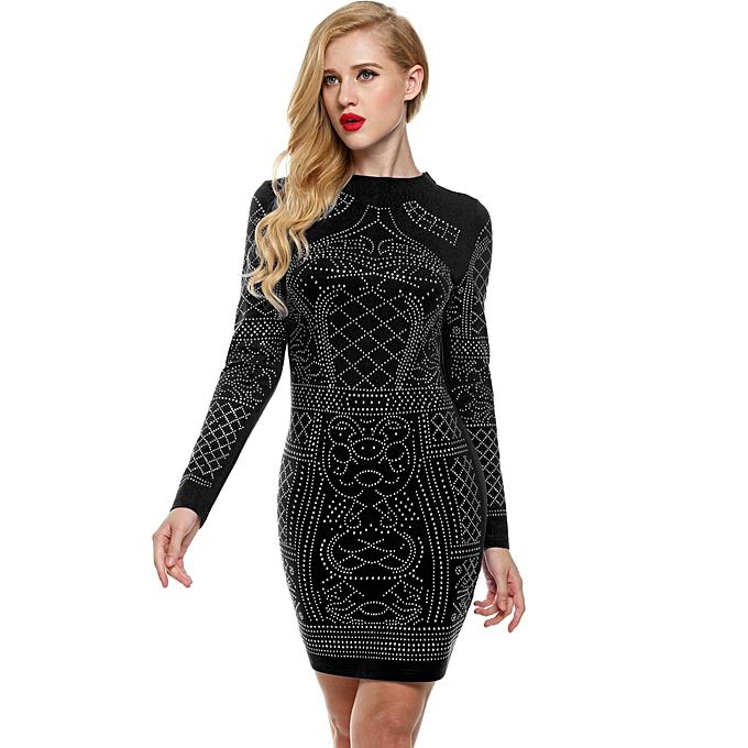Sunweb Meaneor femmes Sexy Geometric Retro Rhinestone High O-neck Bodycon Tight Party Robe ( noir ) à prix pas cher