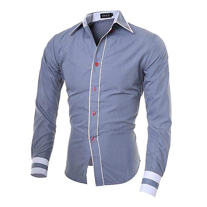 Other Casual Slim Long Sleeve Shirt Social Shirt for Men-gris à prix pas cher
