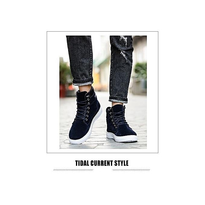 mode Hommes bottes cuir Footwear For Man High Top toile Décontracté chaussures-bleu à prix pas cher