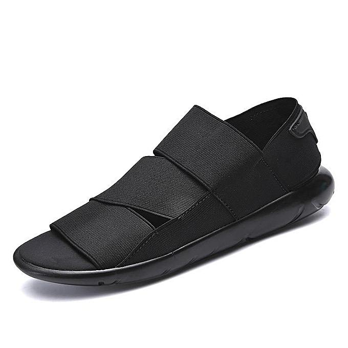 Tauntte Men Sandals Elastic Cloth Stretch Beach chaussures Casual Slippers (noir) à prix pas cher