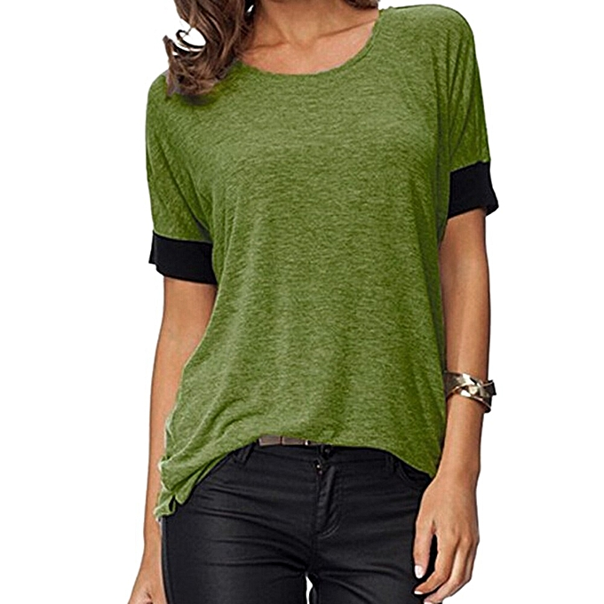 Fashion femmes Tops Short Sleeve Shirts Round Neck Casual T Shirts Loose Fit Tee Blouses à prix pas cher