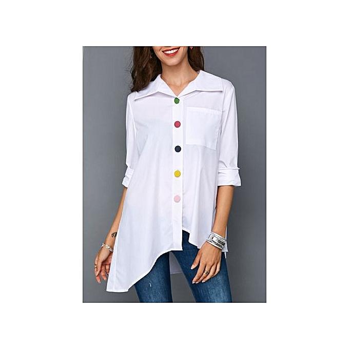 Generic New ladies irregular Couleur buckle shirt femmes-blanc à prix pas cher