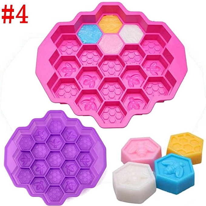 UNIVERSAL 19 Cell Honey Comb Bees Soap Mould Beeswax Ice Jelly Chocolate Cake Pan à prix pas cher
