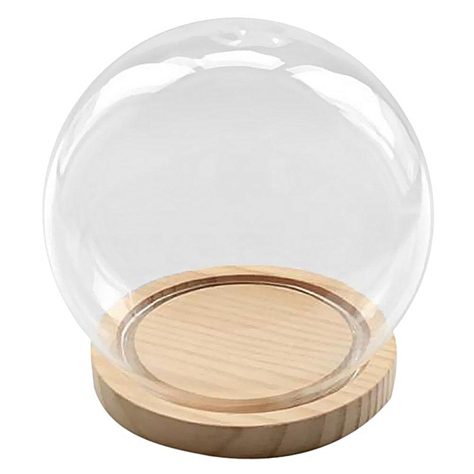 GENERAL Decorative Glass Bell With Wooden Floor, Transparent Glass Container Micro-Landscape Garden DIY Terrarium Container Decoration - Ball, 15x16cm à prix pas cher