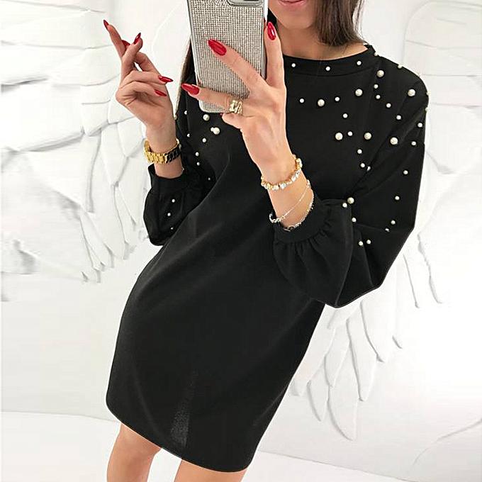 Generic Xiuxingzi Fashion femmes Casual O-Neck Solid Beading Long Sleeve Ladies Loose Mini Dress à prix pas cher
