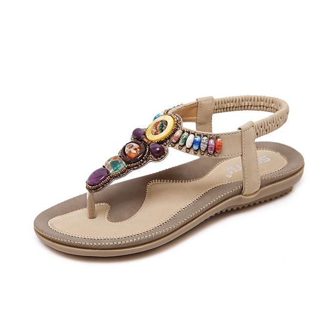 OEM New arrivel femmes Sandals Flat Big Taille Summer Sandals femmes 2018 Comfortable Female Summer chaussures-apricot à prix pas cher