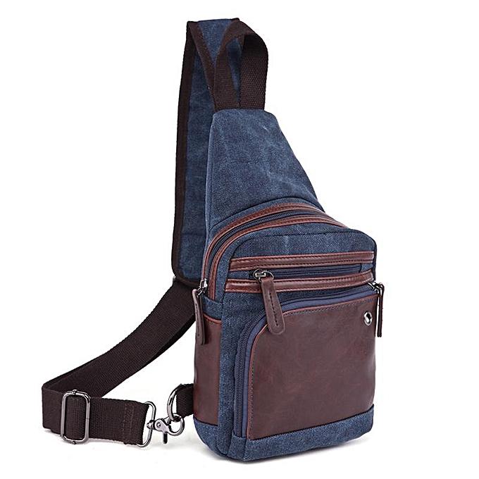 Fashion Men Canvas Causal Travel Outdoor Shoulder Crossbody Chest Bag dark bleu à prix pas cher