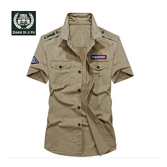 GENERAL Summer Men's Casual Short Sleeve Shirt Thin Cotton Loose Large Taille Shirt à prix pas cher