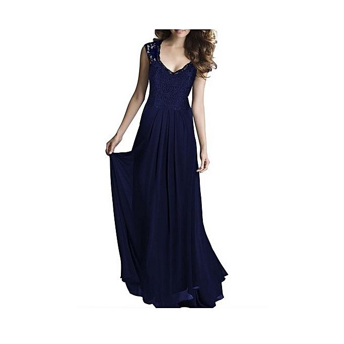 OEM New ladies new lace floor dress European stand sleeveless open back dress dress-bleu à prix pas cher