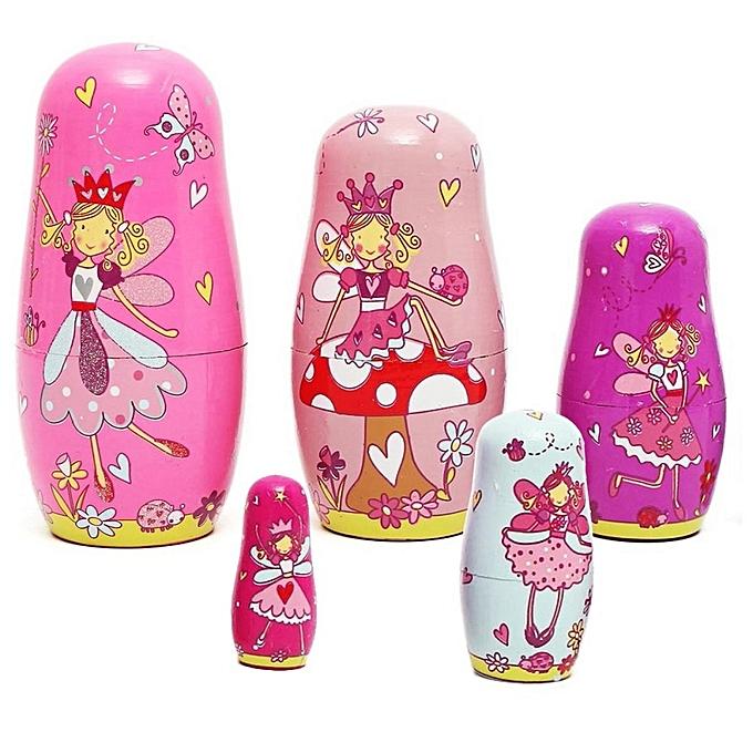 UNIVERSAL 5Pcs Girl rose boisen Angel Fairy Russian Babushka Matryoshka Nesting Dolls nouveau à prix pas cher