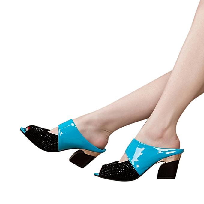 Fashion Jummoon Shop Ladies femmes Sandals Mixed Couleurs Square talons hauts Slipper Fish Mouth chaussures à prix pas cher