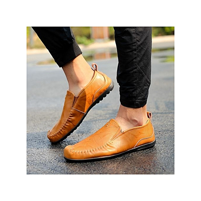 Fashion Size Plus Size Fashion Leather Shoes Comfy Loafer Flats-Yellow à prix pas cher  | Jumia Maroc 092576