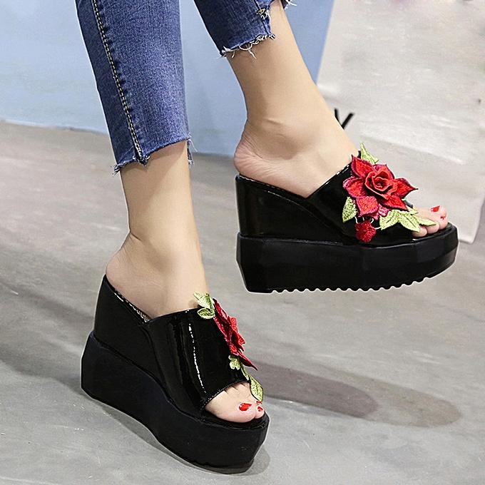 Générique Tcetoctre WoHommes WoHommes Tcetoctre  Thick-Bottom Sloped Slippers EmbroideRouge  High-Heeled Wedges Platform Shoes-Black à prix pas cher    Jumia Maroc 0271fa
