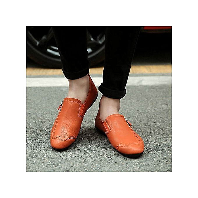 mode Hiamok_Hommes Solid Couleur Round Toe Sewing Flat Heel ShalFaible Mouth cuir chaussures OR à prix pas cher