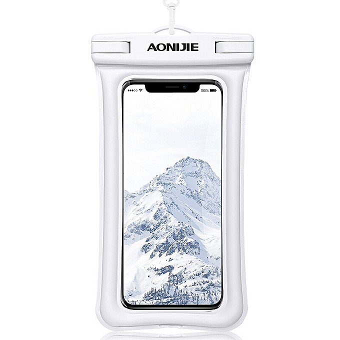 AONIJIE E4104 Floatable Waterproof Phone Case Dry Bag Cover Mobile Phone Pouch For River Trekking Swimming Beach Diving Drifting(blanc) à prix pas cher