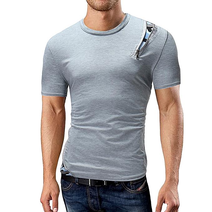 mode whiskyky store Hommes& 039;s été Décontracté Round Neck Solid Patchwork T-shirt manche courte Top chemisier à prix pas cher