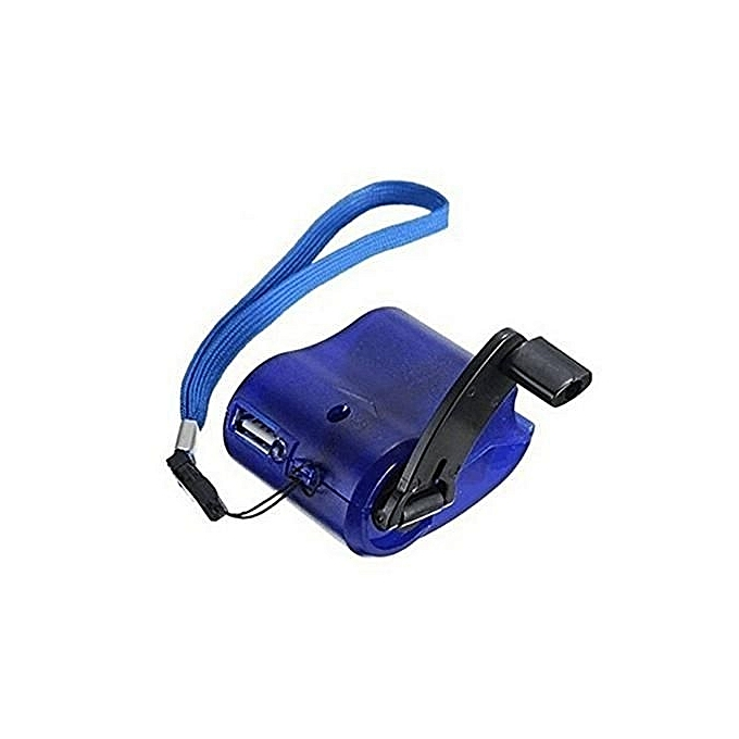 Generic USB Hand Crank Emergency Power SOS Phone Charger Survival Camping Backpack Gear-bleu à prix pas cher