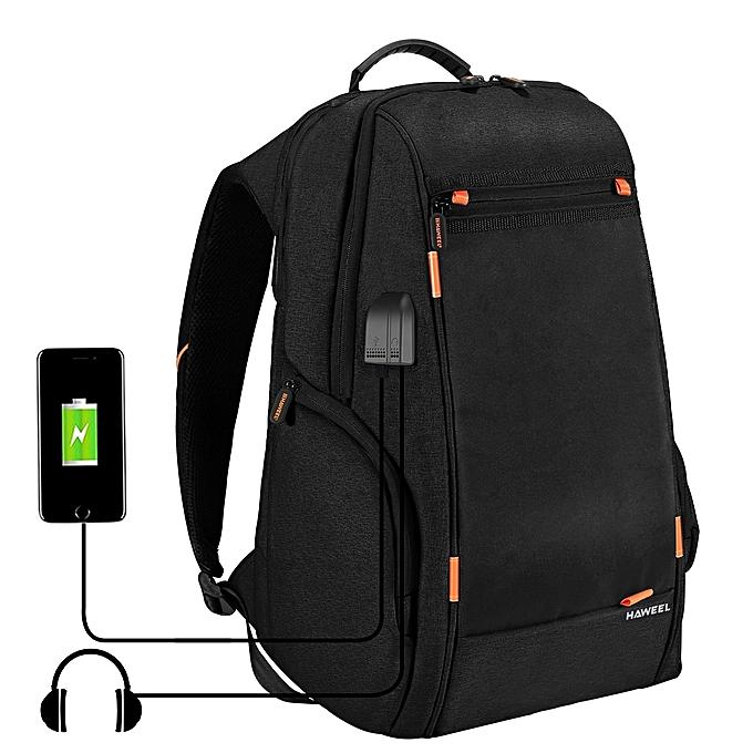 UNIVERSAL HAWEEL Outdoor Multi-function Comfortable Breathable Casual Backpack Laptop Bag with Handle, External USB Charging Port & Earphone Port(noir) à prix pas cher