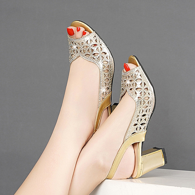 Fashion jiahsyc store Wohommes Fashion Casual Crystal Peep Toe Hollow Out Sandals Thick Heels chaussures à prix pas cher