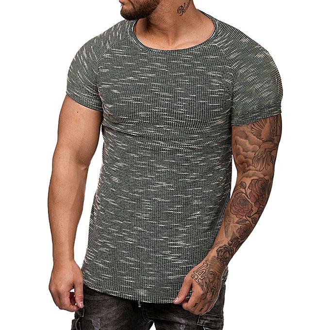 Fashion Fashion Men's Slim Fit O Neck Short Sleeve Muscle Tee T-shirt Casual Tops Blouse -Army vert à prix pas cher