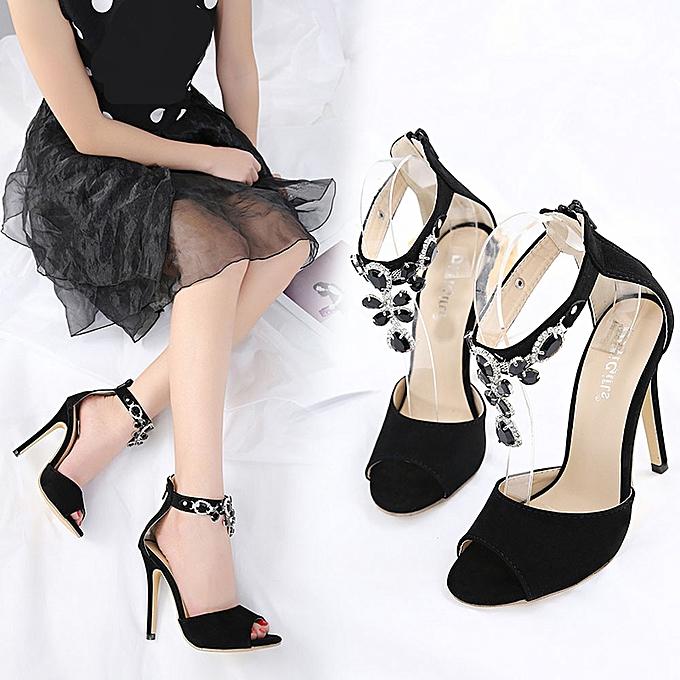 Fashion WoHommes  Fashion Stick A Drill Sandals High Heels Heels High Summer Luxury Dress Shoes Sandals -Black à prix pas cher    Jumia Maroc c9b236