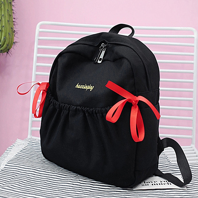 OEM femmes Girl Bow Canvas Backpack Double Shoulder Bag Travel School Bag à prix pas cher