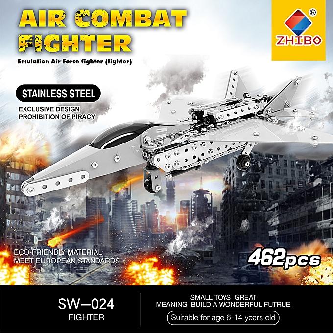 Autre 462Pcs Fighter Intelligent Construction Set 3D acier inoxydable Model Kit DIY Gift Model Building Educational Toys à prix pas cher