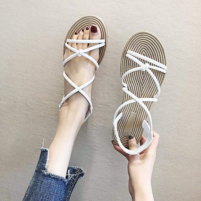 Fashion femmes Ladies Summer Beach Cross Open Toe Sandals Elastic Strap Flat chaussures à prix pas cher