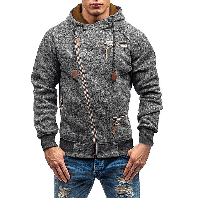 mode Hommes& 039;s Autumn manche longue Zipper encapuchonné Sweatshirt Outwear hauts chemisier DG L à prix pas cher