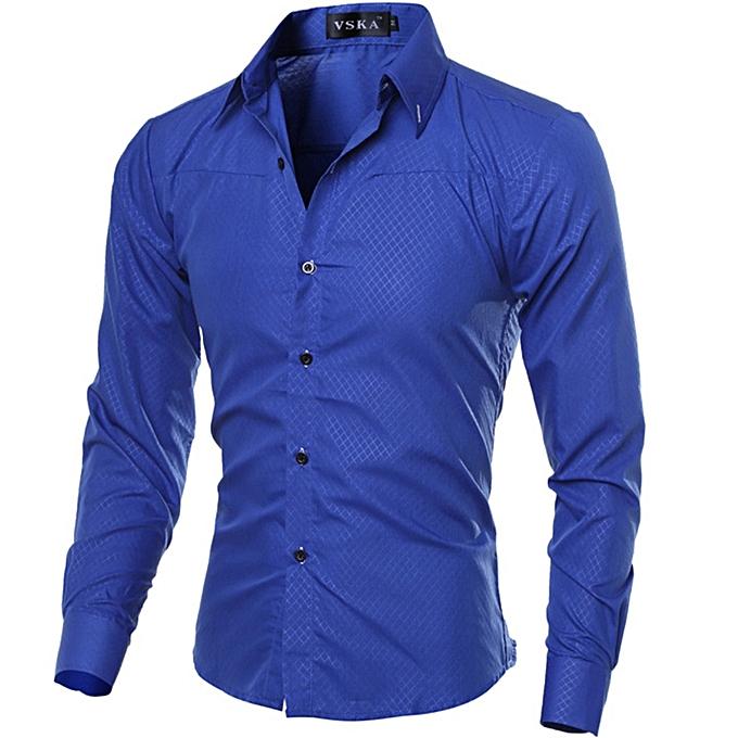 Other Men  Social Slim Fit Shirt Long Sleeve Shirt Camisa-Royal bleu à prix pas cher