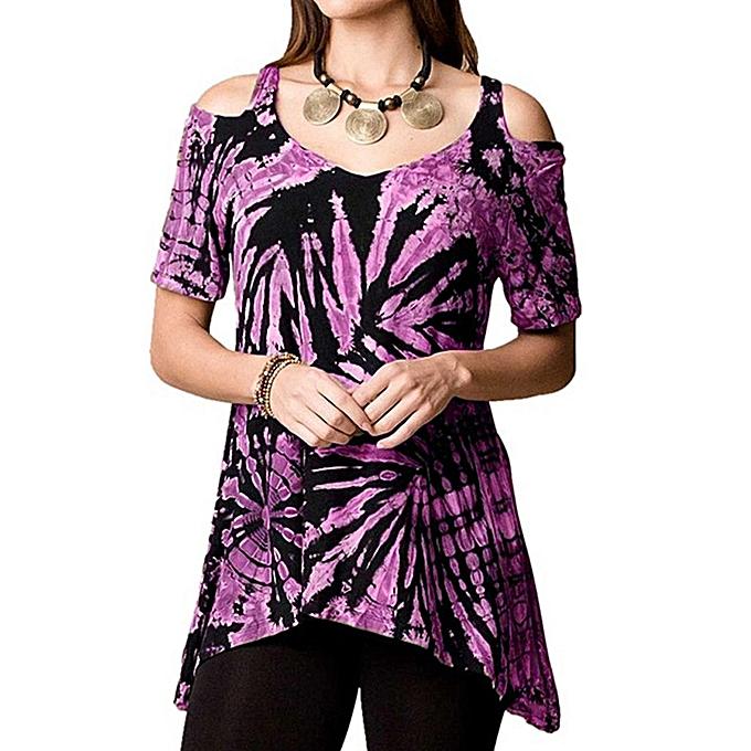 mode whiskyky store femmes été Off Shoulder Irregular Décontracté cravate Dyeing Print chemisier Shirt hauts à prix pas cher