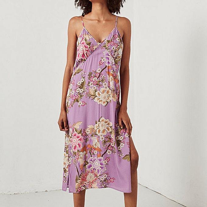 Fashion Wohommes Summer Fashion Floral Print Fresh Sling Dress Holiday Dress à prix pas cher