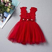 d22ac287acd42 Mini Mode Baby Girls Flowery Lace Sun Dress Casual Corsage Trim Sleeveless