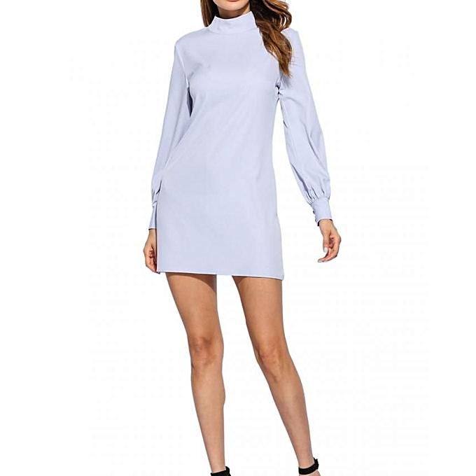 Sunshine femmes Long Puff Sleeve Stand Collar Causal Back Neck Drop Solid Shift Robe-lumière bleu à prix pas cher