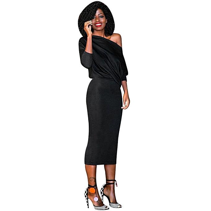 Neworldline Fashion femmes Long Sleeve Cocktail Party Long Dress à prix pas cher
