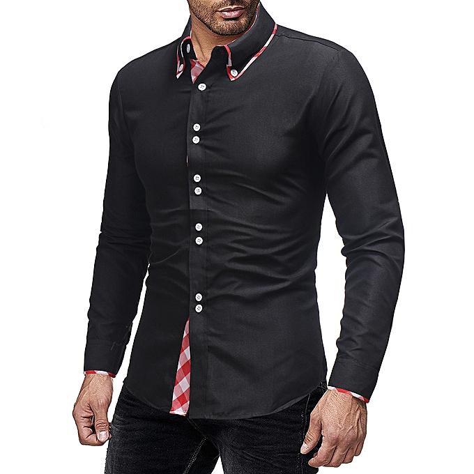 mode jiuhap store Hommes& 039;s Autumn Winter Décontracté Plaid Patchwork manche longue Robe Shirt Top chemisier à prix pas cher