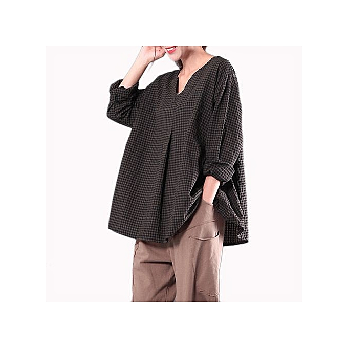 mode Hiamok Plus Taille femmes Ethnic Loose Kaftan manche longue V Neck Cotton Long Maxi chemisier à prix pas cher