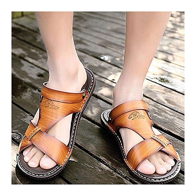Fashion Fashion Men Metal Buckle Comfortable Slippers Flat Casual Beach chaussures Sandals-EU à prix pas cher    Jumia Maroc