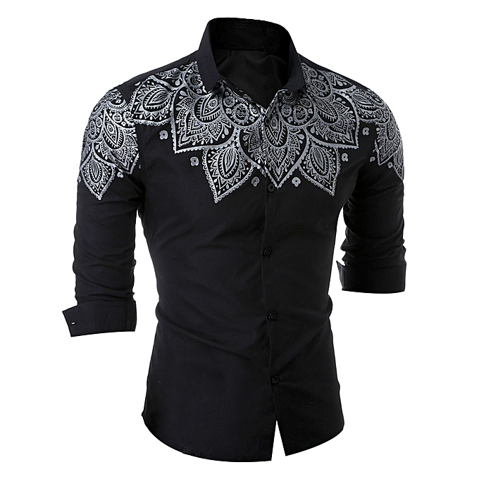 Fashion (Xiuxingzi) Luxury Mens Casual Stylish Slim Fit Long Sleeve Casual Formal Blouse Shirts Tops à prix pas cher