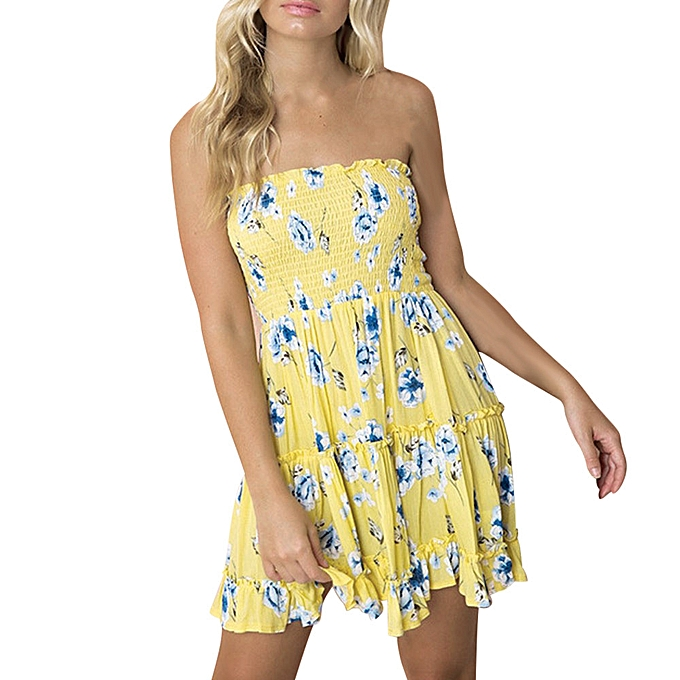 mode jiahsyc store femmes  impression Off Shoulder Sleeveless Mini Robe Princess Robe L-jaune à prix pas cher