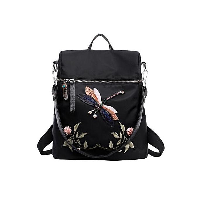 mode SingedanNylon Dragonfly Embroidery Practical Functional voyage Female sac à dos -noir à prix pas cher