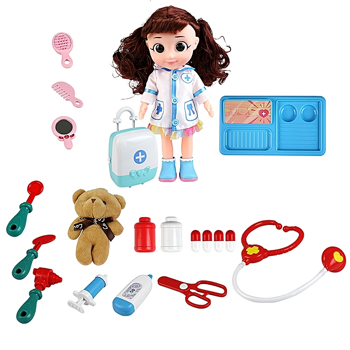 UNIVERSAL MoFun T2003A Girl Doctor Role Playing Game Toy Electric Voice Simulator Doll Operating Table à prix pas cher
